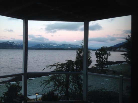 "Anchor Inn by the Sea: Morning ""alpenglow"" before the moon fades"