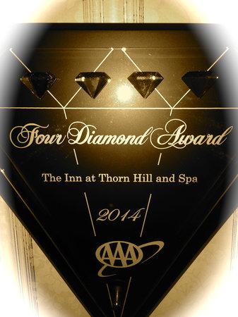 The Inn at Thorn Hill & Spa: 2014 Four Diamond AAA Award