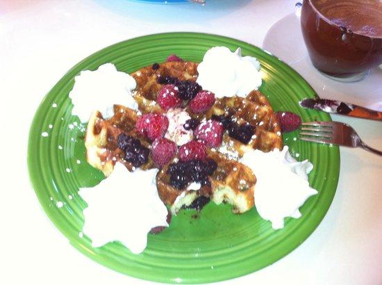Arrowhead Chocolates: Delicious huckleberry waffles (only served on Sundays)