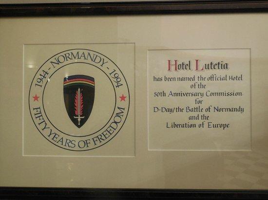 Hôtel Lutetia : Special Honor