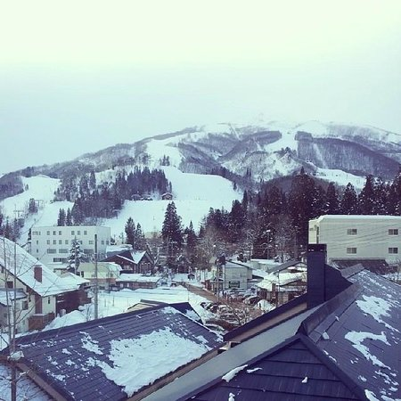 Hakuba Springs Hotel: View from our room (on a snowy day - the mountain is behind clouds!)