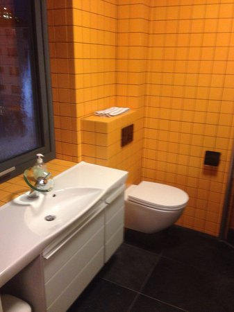 Room With a View Apartments : The modern and clean sink and toilet with plenty of storage.