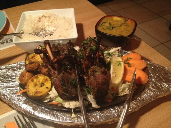 Taste of India: Tabac Maz (Rack of Lamb, lentils, basmati rice and grill veggies)