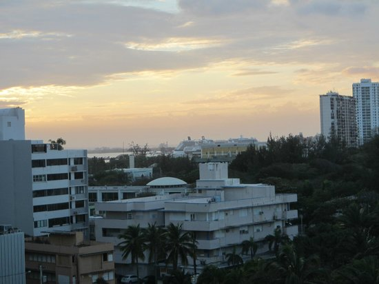 Caribe Hilton San Juan: View from the balcony. Cruise ships in background