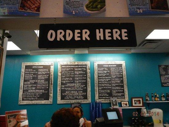 Sea Island Shrimp House: Order Board - Menu