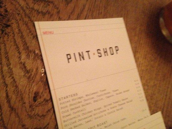 Pint Shop menu