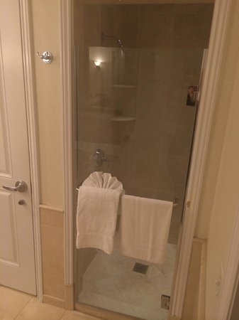 Balboa Bay Resort: Gorgeous Marble Shower with Overhead Light (not on)