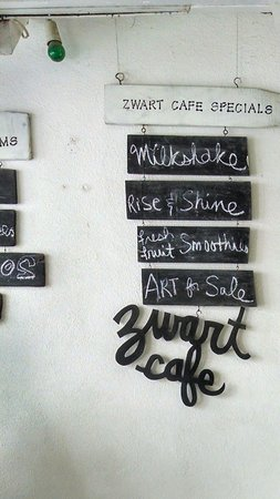 Zwart Cafe: handmade menu signs by the owner and artist Margariet