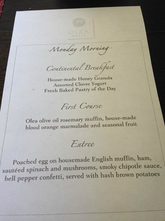 Olea Hotel : breakfast menu