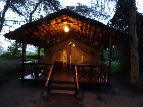 Migunga Tented Camp: View of the room from the outside. Each room has an outdoor lock and key to keep valuables safe