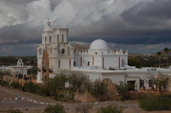 Mission San Xavier del Bac: Exterior view from Grotto Hill