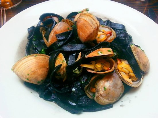 Mister 'D's Bistro: Cloudy Bay clams, D-squid ink fettucine, garlic, chilli, oregano