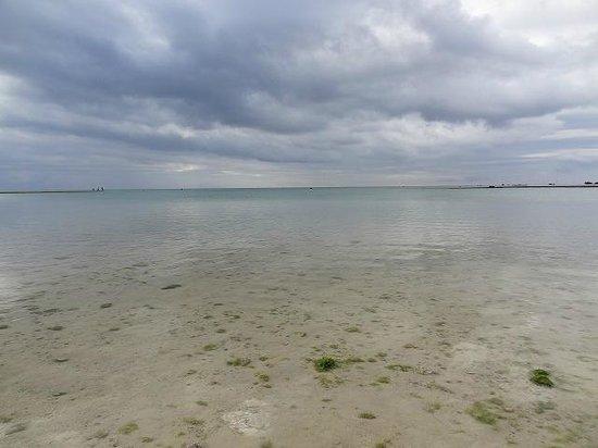 Zanpa Beach: 波もなく遠浅のビーチ