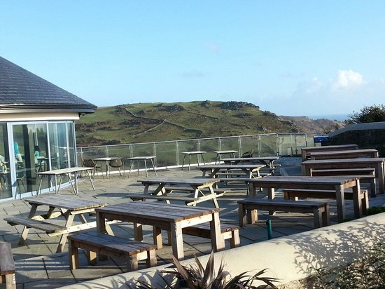 cafe-ODE at Gara Rock: looking back over terrace towards Start Point