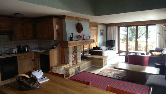 Hotel Alpine Lodge Gstaad - Saanen: Cheminée im Wohnzimmer
