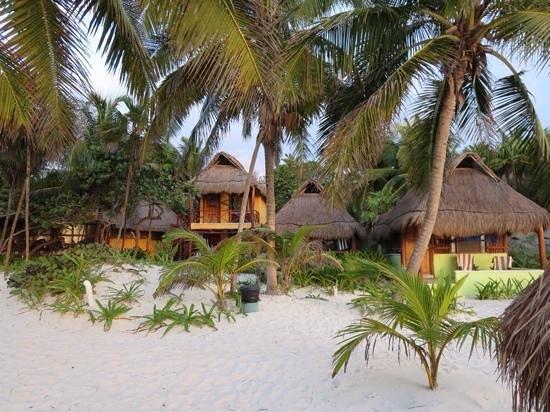 Tita Tulum Hotel Ecologico : cabañas desde la playa