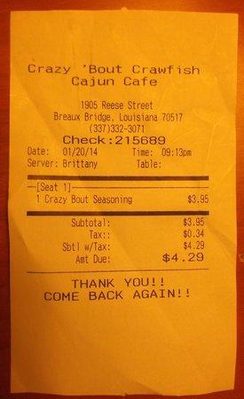 """Crazy Bout Crawfish Cajun Cafe : Épice """" Craxy bout' seasoning  à $4.29 avec taxe - 22 janvier 2014."""
