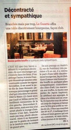 La Gazette : philippe COUDERC best gastronome critique