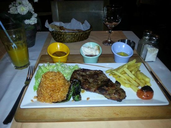Defne Bar and Restaurant: Beef steak with two sides and  choice of three sauces