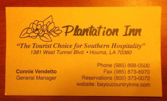 Plantation Inn: Carte d'affaire.