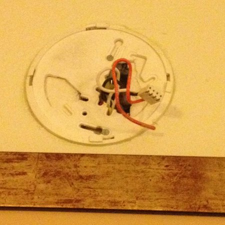 Holiday Inn Express Tampa-Brandon: This is what the smoke detector looked like in our room.How can house keeping or anyone not see