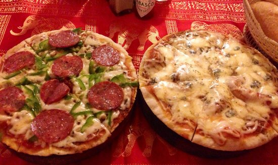 Happy Special Pizza: A couple small pizzas with sprinkles of happiness.
