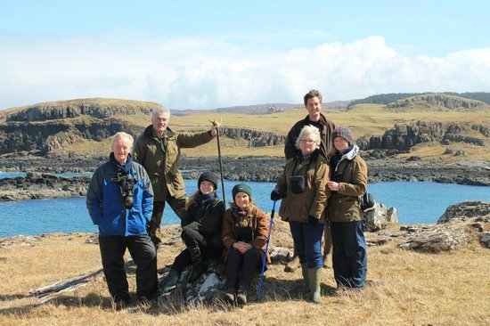Glengorm Wildlife Project: A guided walk group, on Laorin Point in the springtime