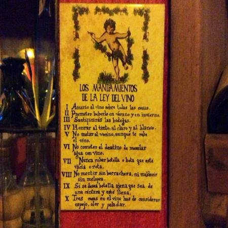 La Vina de Bacco: Los mandamientos del vino
