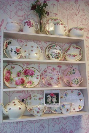 Cinderellas Tea Room and Dress Shop: just a few pieces of the beautiful china at Cinderella's