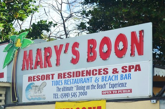 Mary's Boon Beach Resort and Spa: sign