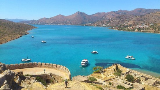 Spinalonga (Kalidon): View from Spinalonga of the bay of Elounda Crete