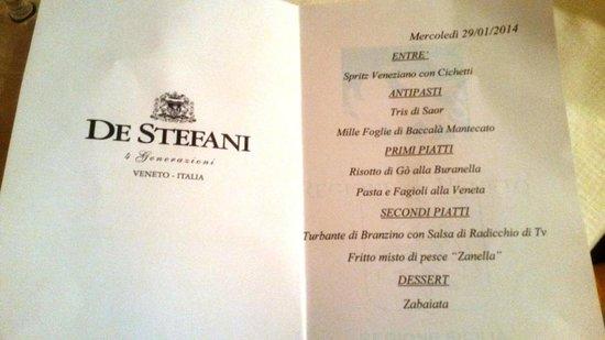 Locanda Zanella : il menu' dell'evento