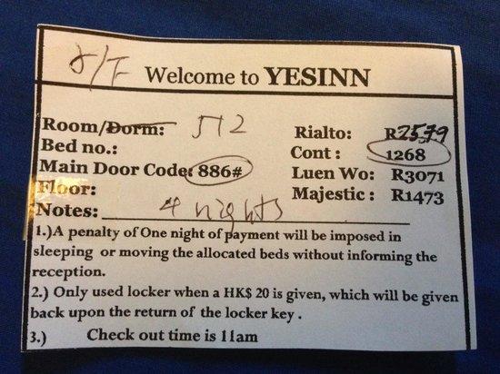 Yesinn Hostel Fortress Hill : For the guest