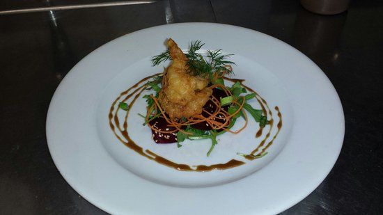 Gallagher's: Coconut and beer batterd tiger prawns with a salt roasted beetroot carpachio, dressed with seasa