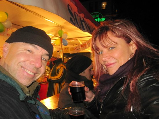 Enjoying gluhwein at Marienplatz during Festival