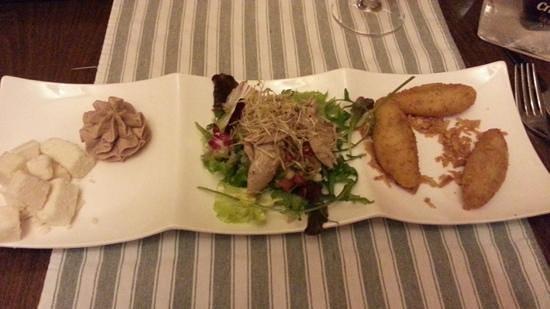 La Abadia : AppetizersÑ Manchego cheese, paté, quail salad, and croquetas