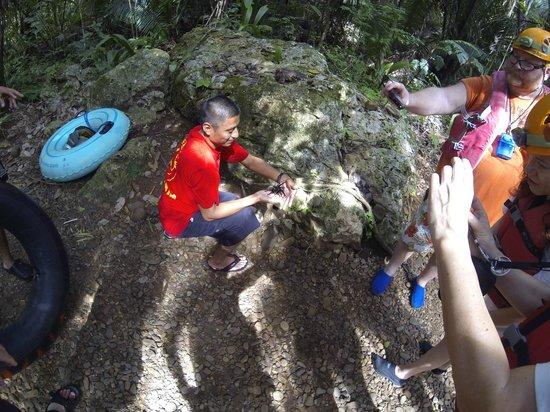 Cave Tubing with Vitalino Reyes: Alfredo with the tarantula