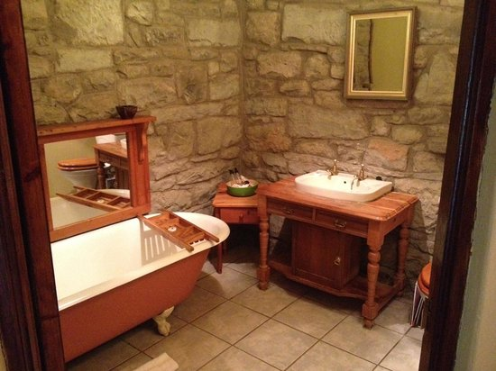 Penwarn Country Lodge: The Zebra Room bathroom - very steampunk