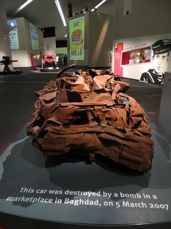 Imperial War Museum North: This car was destroyed by a bomb in a marketplace (Al-Mutanabee Street.....for bookshops and sta