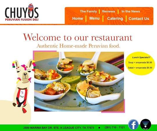 Chuyos Peruvian Fusion Deli : www.chuyosrestaurant.com/ Visit our Website