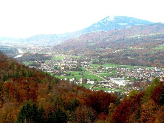 Salzwelten Hallein: View toward Salzburg Austria from Hallein Salt Mines