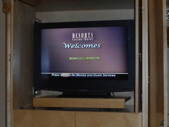 Resorts Casino Hotel : recibimiento en el televisor