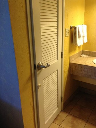 Fairfield Inn & Suites Key West: The bathroom door.