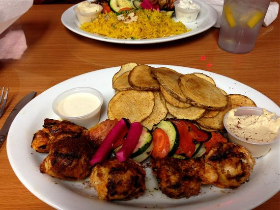 Palm Kabob House : My dinner of chicken kabobs and chips, with tahini and hummus.