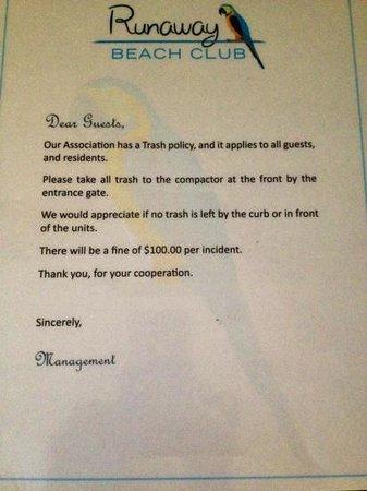 Runaway Beach Club: $100 Fine for Violation of their Trash Policy!