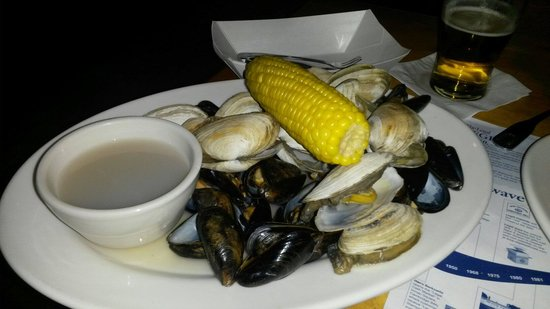Legal Sea Foods : Steamers and mussels, plus the sausage....somewhere