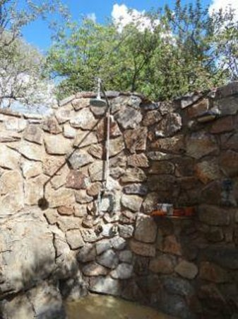 Tuningi Safari Lodge: The view from the outdoor shower includes elephants and more