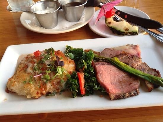 Hawaii Tasting Tours: Mac Nut crusted daily catch, Prime rib (roasted for 24 hours) Kale Salad, The Lahaina Fish Co.