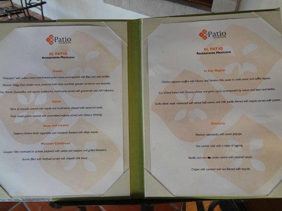 Secrets Aura Cozumel: El Patio menu-the mexcan restaurant (on Sabor side)