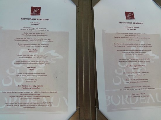 Secrets Aura Cozumel: French restaurant (Bordeaux) menu